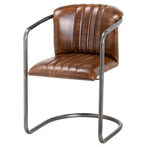 TAN ANTIQUE BROWN LEATHER RIBBED DINING KITCHEN CHAIR METAL FRAME (H21047)
